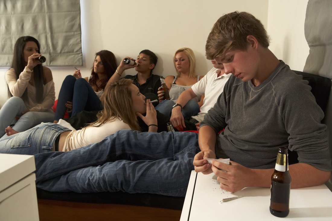 Students drinking at a party