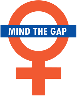 Mind the gap written in text box in front of gender symbol for women in red.