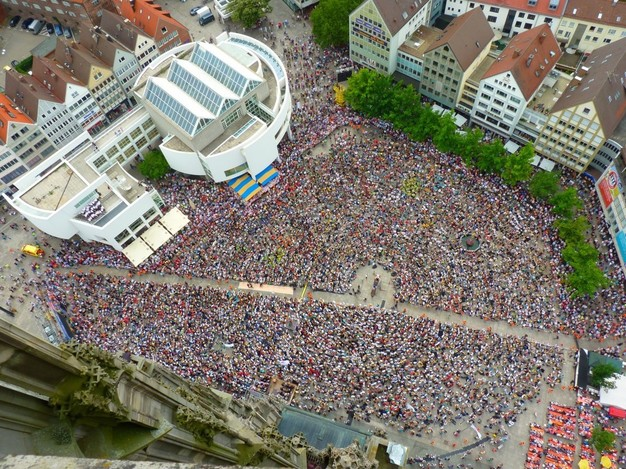 Mass crowd protest aerial view